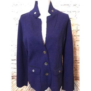 Eileen Fisher Merino Wool Blue Blazer Large Pocket